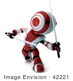 #42221 Clip Art Graphic Of A Red Futuristic Robot Fighting With Katana Swords