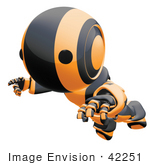 #42251 Clip Art Graphic Of An Orange Futuristic Robot Floating