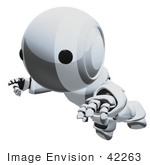 #42263 Clip Art Graphic Of A Chrome Futuristic Robot Floating