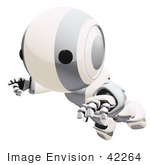#42264 Clip Art Graphic Of A Silver Futuristic Robot Floating