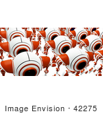 #42275 Clip Art Graphic Of Marching Red Cams