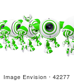 #42277 Clip Art Graphic Of A Friendly Green Cam Waving In Line