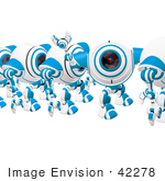#42278 Clip Art Graphic Of A Friendly Blue Cam Waving In Line