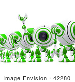 #42280 Clip Art Graphic Of A Waving Green Cam In A Line
