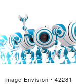 #42281 Clip Art Graphic Of A Waving Blue Cam Standing In A Line