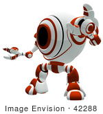 #42288 Clip Art Graphic Of A Red Cam Holding Up One Arm