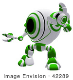 #42289 Clip Art Graphic Of A Green Cam Holding Up One Arm