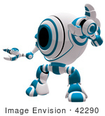 #42290 Clip Art Graphic Of A Blue Cam Holding Up One Arm
