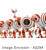 #42294 Clip Art Graphic Of A Happy Red Cam Waving To Someone