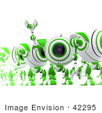 #42295 Clip Art Graphic Of A Happy Green Cam Waving To Someone