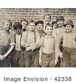 #42338 Stock Photo Of A Group Of Doffer Boy Laborers At The Georgia Cotton Mill In 1909