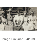 #42339 Stock Photo Of A Group Of Five Young Mill Worker Girls Taking A Break In 1913