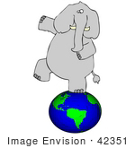 #42351 Clip Art Graphic Of An Elephant Walking On The Earth