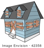 #42358 Clip Art Graphic Of A Foreclosed Home With Boarded Up Windows And Doors
