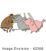 #42366 Clip Art Graphic Of A Diverse Friends A Cow Pig And Elephant Swinging