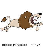 #42378 Clip Art Graphic Of A Mad Leaping Lion