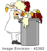 #42382 Clip Art Graphic Of A Chef Stuffing Chickens In A Stock Pot