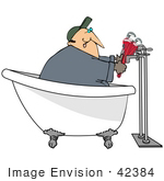 #42384 Clip Art Graphic Of A Plumber Fixing Pipes On A Claw Foot Tub