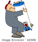 #42386 Clip Art Graphic Of A Strained Man Carrying A Water Heater