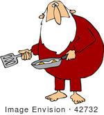 #42732 Royalty-Free (Rf) Clipart Illustration Of A Chubby Santa Cooking Eggs In His Pajamas