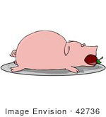 #42736 Clipart Illustration Of A Roasted Pink Pig With An Apple In Its Mouth Served On A Platter
