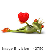 #42750 Royalty-Free Clipart Illustration Of A Reclined 3d Red-Eyed Frog Prince Wearing A Crown And Holding Up A Red Heart