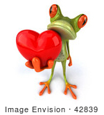 #42839 Royalty-Free (Rf) Clipart Illustration Of A 3d Red Eyed Tree Frog Giving A Red Heart - Pose 2