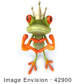 #42900 Royalty-Free (Rf) Clipart Illustration Of A 3d Red Eyed Tree Frog Prince Making A Heart With His Fingers - Pose 1