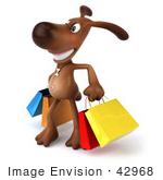 #42968 Royalty-Free (Rf) Clipart Illustration Of A 3d Brown Dog Mascot Carrying Shopping Bags - Version 3