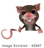 #42997 Royalty-Free (Rf) Cartoon Clipart Illustration Of A 3d Mouse Mascot Giving The Thumbs Up And Holding A Blank Sign