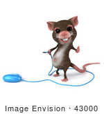 #43000 Royalty-Free (Rf) Cartoon Clipart Illustration Of A 3d Mouse Mascot Holding The Cable To A Computer Mouse - Version 1