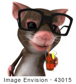#43015 Royalty-Free (Rf) Cartoon Clipart Illustration Of A 3d Mouse Mascot Wearing Spectacles And Sipping A Beverage - Pose 1