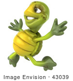 #43039 Royalty-Free (Rf) Cartoon Clipart Of A 3d Turtle Mascot Jumping Into The Air