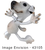 #43105 Royalty-Free (Rf) Clipart Illustration Of A 3d Jack Russell Terrier Dog Mascot Leaping
