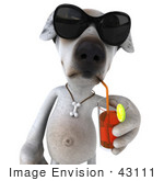 #43111 Royalty-Free (Rf) Clipart Illustration Of A 3d Jack Russell Terrier Dog Mascot Wearing Sunglasses And Sipping A Drink - Pose 1