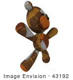 #43192 Royalty-Free (Rf) Illustration Of A 3d Knitted Teddy Bear Mascot Doing Jumping Jacks