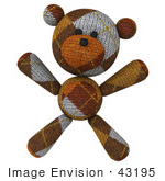 #43195 Royalty-Free (Rf) Illustration Of A 3d Knitted Teddy Bear Mascot Facing Forward And Doing Jumping Jacks