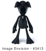 #43413 Royalty-Free (Rf) Illustration Of A 3d Black Lab Mascot Standing And Facing Front