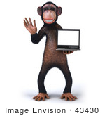 #43430 Royalty-Free (Rf) Illustration Of A 3d Chimpanzee Mascot Holding A Laptop - Version 1