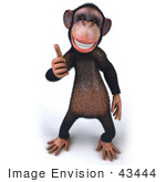 #43444 Royalty-Free (Rf) Illustration Of A 3d Chimpanzee Mascot Giving The Thumbs Up - Pose 2