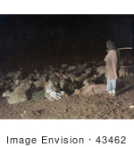 #43462 Rf Stock Photo Of Shepherds In The Darkness With Resting Sheep