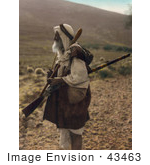 #43463 RF Stock Photo Of An Arab Shepherd Watching Over His Flock With A Rifle by JVPD