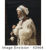#43464 Rf Stock Photo Of A Ramallah Peasant Man Standing And Spinning Wool