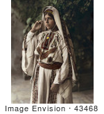 #43468 Rf Stock Photo Of A Ramallah Woman Standing In A Traditional Dress