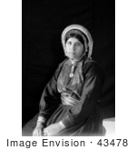 #43478 Rf Stock Photo Of A Black And White Portrait Of A Seated Ramallah Woman