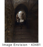 #43481 Rf Stock Photo Of A Stone Arch And Steps Through A Street Alley In Jerusalem Israel