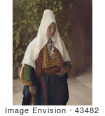 #43482 Rf Stock Photo Of An Arab Woman Wearing Dowry Necklace And Traditional Clothing