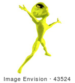 #43524 Royalty-Free (Rf) Illustration Of A 3d Green Alien Dancing - Pose 4