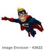 #43622 Royalty-Free (Rf) Cartoon Illustration Of A Happy 3d Superhero Mascot Smiling And Flying Forward