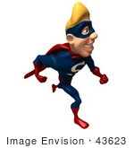 #43623 Royalty-Free (Rf) Cartoon Illustration Of A Smiling Blond 3d Superhero Mascot Running Right